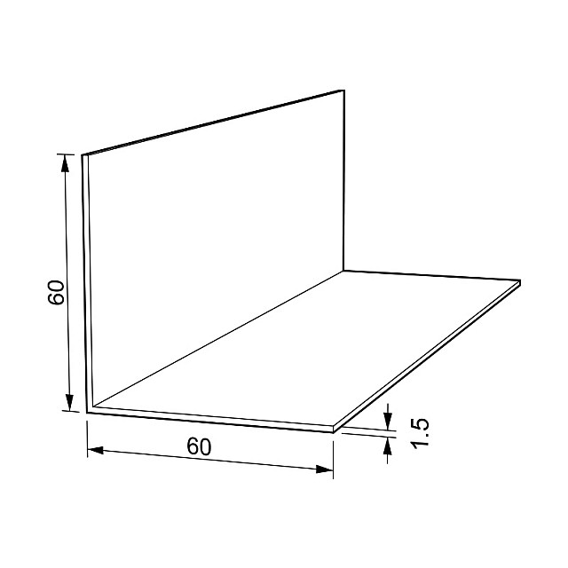 L-SHAPE ALUMINUM PROFILE 60x60 ANODISED